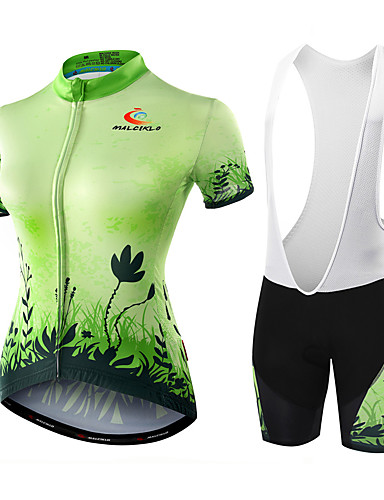 cheap Cycling Clothing-Malciklo Women's Short Sleeve Cycling Jersey with Bib Shorts - Green / Black Floral Botanical Bike Shorts Jersey Bib Tights Breathable Quick Dry Anatomic Design Ultraviolet Resistant Reflective Strips