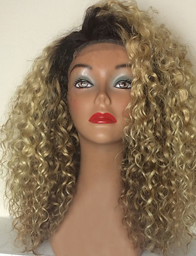 billige Blondeparykker med menneskehår-Ekte hår Helblonder uten lim Helblonde Parykk Rihanna stil Brasiliansk hår Kinky Curly Nyanse Parykk 150% Hair Tetthet med baby hår Ombre-hår Naturlig hårlinje Afroamerikansk parykk 100 % håndknyttet