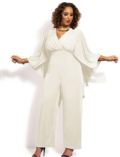 Womens Plus Size Party V Neck White Black Jumpsuit Solid Colored