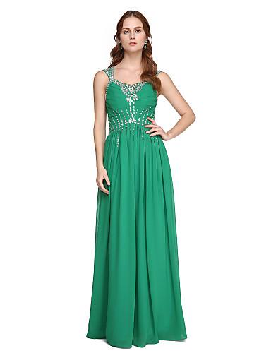 عامودي أقلام طول الأرض شيفون حفلة رسمية فستان مع حصى / طيات بواسطة TS Couture®