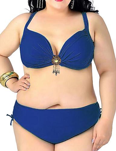 abordables Hauts pour Femmes-Femme Rétro Licou Rouge Marine Fuchsia Slip Brésilien Bikinis Maillots de Bain - Couleur Pleine Sexy XXXL XXXXL XXXXXL