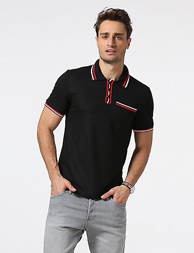 رجالي قطن بولو ستايل قبعة القميص ألوان متناوبة, عمل / كم قصير