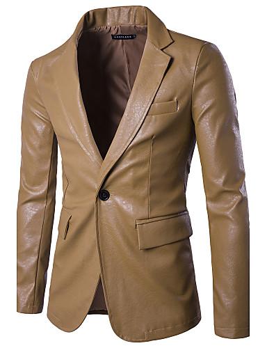 Homens Jaqueta Moda de Rua-Sólido Colarinho de Camisa