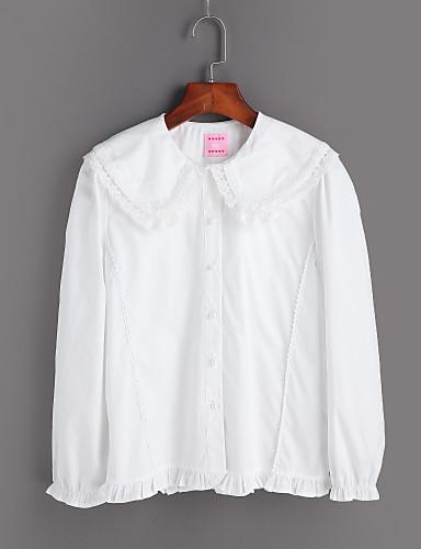 レディース お出かけ カジュアル/普段着 シャツ,シンプル ラウンドネック ソリッド コットン 長袖