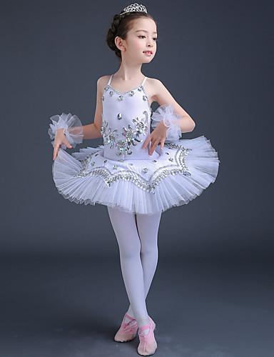 preiswerte Ballettbekleidung-Ballett Kleider Leistung Elasthan / Tüll Spitze / Kristalle / Strass / Pailetten Ärmellos Hoch Kleid / Armbänder