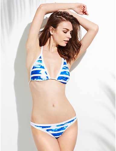 Women's Sporty Stripe Sell Well Split Type Halter Bikinis,Floral Push-up Blue