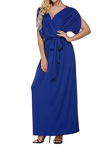 فستان نسائي قياس كبير ثوب ضيق طويل للأرض أزرق لون سادة V رقبة مناسب للخارج