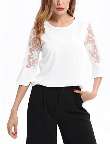Mulheres Camiseta - Feriado / Praia Sofisticado Renda, Sólido / Retalhos / Verão / Rendas