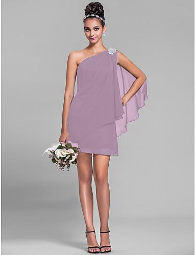 6ee44c24867 Ίσια Γραμμή Ένας Ώμος Κοντό / Μίνι Σιφόν Φόρεμα Παρανύμφων με Κρυστάλλινη  λεπτομέρεια / Πλαϊνό ντραπέ με LAN TING BRIDE®