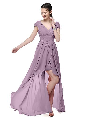 Linha A Decote V Assimétrico Chiffon Vestido de Madrinha com Faixa / Fita Pregas de LAN TING BRIDE®