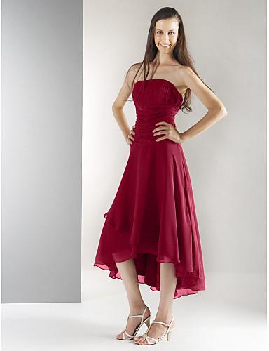 Γραμμή Α / Πριγκίπισσα Στράπλες Κάτω από το γόνατο / Ασύμμετρο Σιφόν Φόρεμα Παρανύμφων με Που καλύπτει / Πιασίματα με LAN TING BRIDE® / Ανοικτή Πλάτη