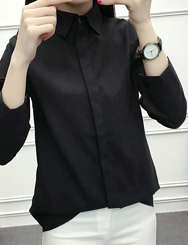 여성 솔리드 셔츠 카라 긴 소매 셔츠,빈티지 데이트 면