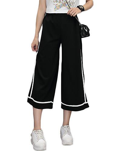 여성 빈티지 스트리트 쉬크 액티브 strenchy 치노바지 바지,와이드 레그 높은 밑위 솔리드 줄무늬