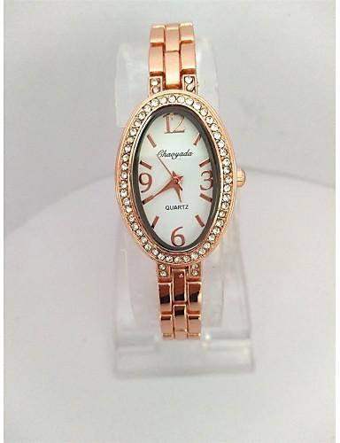 아가씨들 패션 시계 팔찌 시계 석영 합금 밴드 캐쥬얼 로즈 골드