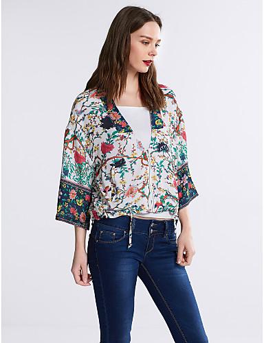 Damen Blumen Hemd, Tiefes V Kunstseide Polyester