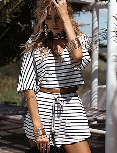 Mulheres Praia Camiseta Listrado Calça Decote V