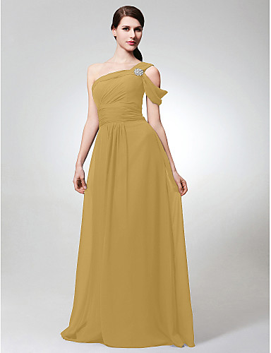 cheap Bridesmaid Dresses-A-Line One Shoulder Floor Length Chiffon Bridesmaid Dress with Side Draping / Crystal Brooch / Ruched by LAN TING BRIDE®