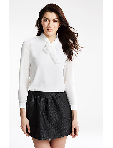 Damen Solide Bluse Schleife Nylon