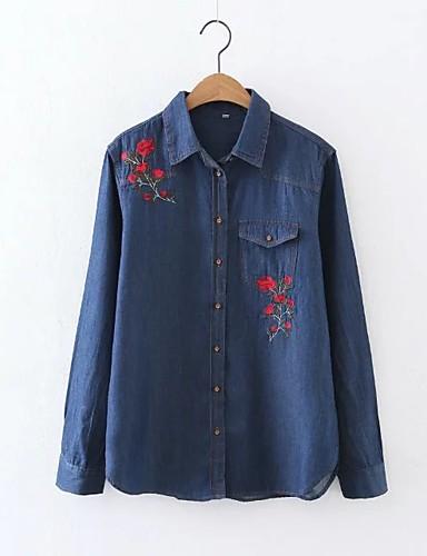 여성 자수장식 셔츠 카라 긴 소매 셔츠,단순한 섹시 스트리트 쉬크 데이트 캐쥬얼/데일리 면 여름 얇음 중간