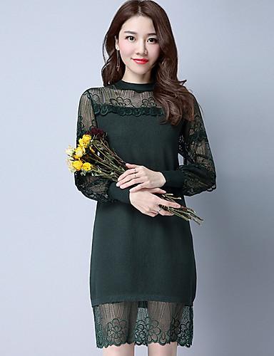 여성 레이스 드레스 캐쥬얼/데일리 심플 솔리드,크루넥 무릎길이 긴 소매 폴리에스테르 여름 높은 밑위 약간의 신축성 얇음