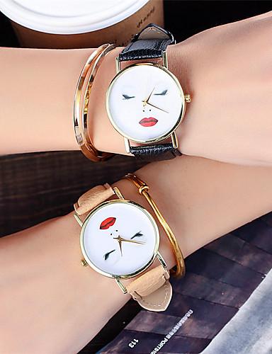 Mulheres Quartzo Único Criativo relógio Relógio de Pulso Chinês / Couro Banda Casual Fashion Legal Preta Branco Marrom Verde Cinza