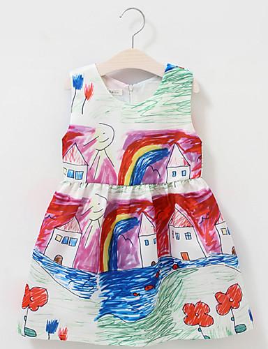 여자의 드레스 데이트 캐쥬얼/데일리 솔리드 플로럴,사계절 면 폴리에스테르 민소매