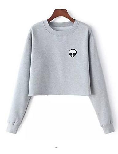 Damen Pullover Lässig/Alltäglich Sport Ausgehen Aktiv Einfach Niedlich Druck Reine Farbe Tiermuster Rundhalsausschnitt strenchy Baumwolle
