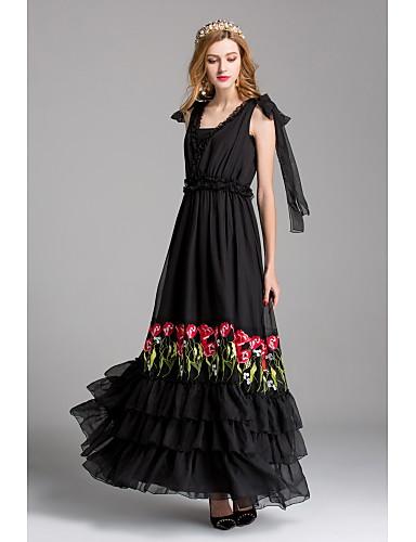 Damen Swing Kleid Solide Maxi V-Ausschnitt