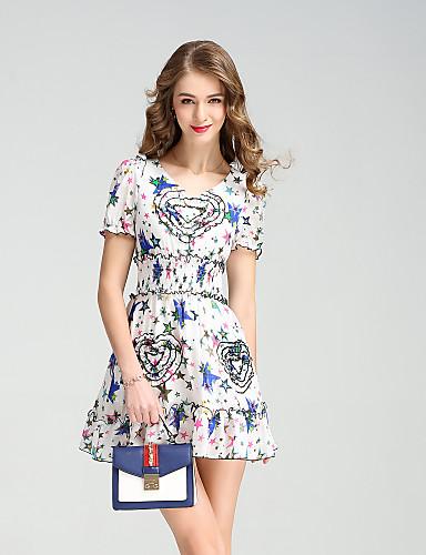 Damen Alltag Festtage Ausgehen Niedlich Street Schick A-Linie Übers Knie Kleid,Blume Geometrisch V-Ausschnitt Kurzarm