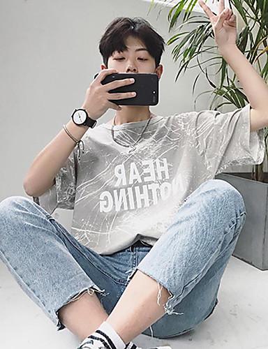 남성 프린트 문자 라운드 넥 짧은 소매 티셔츠,심플 데이트 캐쥬얼/데일리 면 봄 여름 얇음