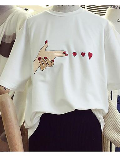 여성용 솔리드 라운드 넥 짧은 소매 티셔츠, 캐쥬얼 일상 그외