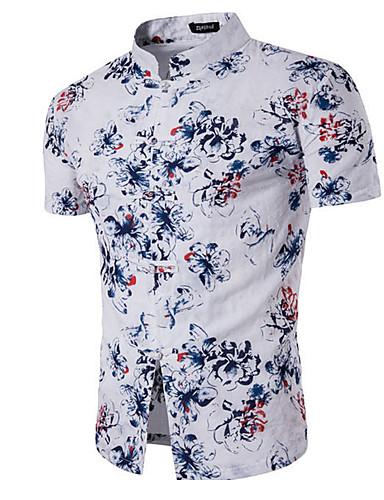 남성 솔리드 프린트 피터팬 카라 긴 소매 셔츠,심플 캐쥬얼/데일리 면 여름