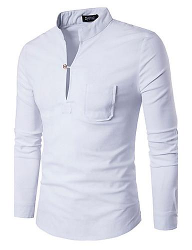 Homens Camiseta Sólido Algodão Colarinho Chinês
