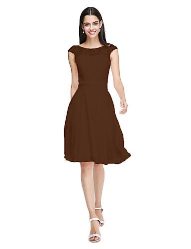 billige Korte brudepikekjoler-A-linje Besmykket Knelang Chiffon / Livstykke i blonder Brudepikekjole med Sløyfe(r) / Belte / bånd av LAN TING BRIDE® / Åpen rygg