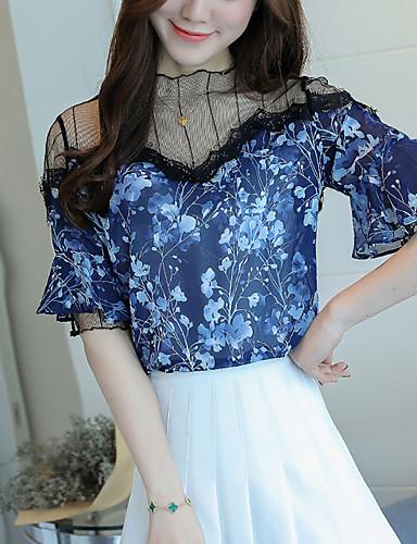 여성 프린트 패치 워크 라운드 넥 짧은 소매 블라우스,스트리트 쉬크 데이트 캐쥬얼/데일리 폴리에스테르 여름 얇음