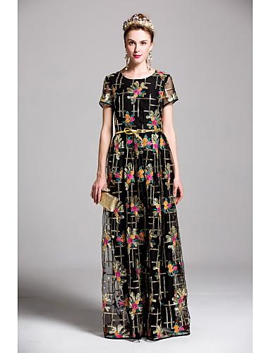 Damen Swing Kleid-Ausgehen Lässig/Alltäglich Stickerei Rundhalsausschnitt Maxi Kurzarm Polyester Frühling Sommer Mittlere Hüfthöhe