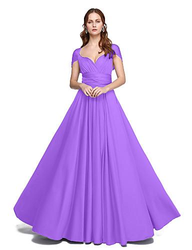 billige Lange brudepikekjoler-A-linje Gulvlang Jersey Brudepikekjole med Kryssdrapering / Plissert av LAN TING BRIDE® / Konvertibel kjole