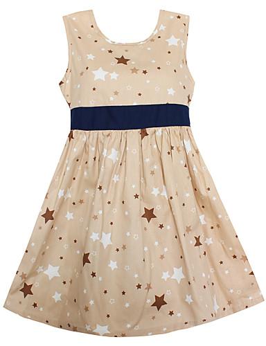 여자의 드레스 일상 데이트 홀리데이 기하학, 봄 여름 면 민소매 카툰 카키