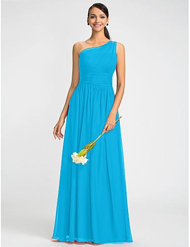 c365f2ab0016 Ίσια Γραμμή Ένας Ώμος Μακρύ Σιφόν Φόρεμα με Χάντρες   Ζώνη   Κορδέλα   Πλαϊνό  ντραπέ με LAN TING BRIDE®