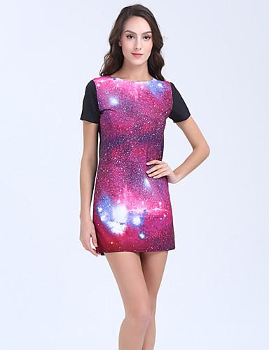Mulheres Para Noite Feriado Vintage Moda de Rua Reto Bainha Vestido - Franjas, Galáxia Cintura Alta Mini