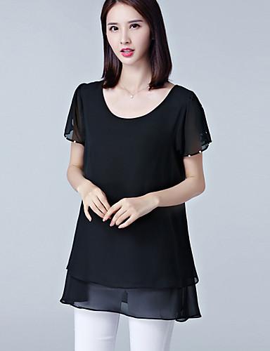 여성 솔리드 라운드 넥 짧은 소매 블라우스,스트리트 쉬크 플러스 사이즈 캐쥬얼/데일리 폴리에스테르 여름 얇음