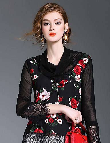 여성용 라운드 넥 긴 소매 셔츠, 귀여운 일상 데이트 폴리에스테르