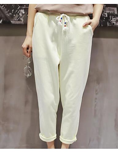 Damen Einfach Mittlere Hüfthöhe Mikro-elastisch Chinos Lose Hose einfarbig