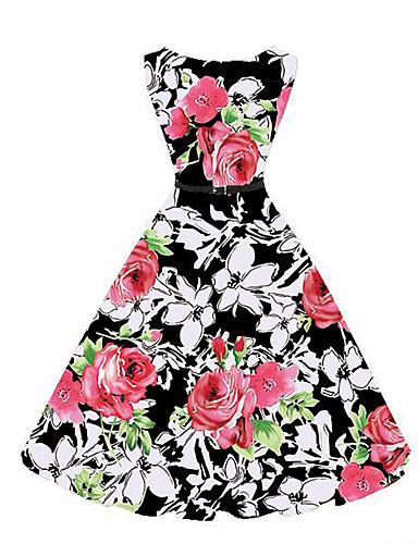 여성용 플러스 사이즈 스윙 드레스 - 플로럴