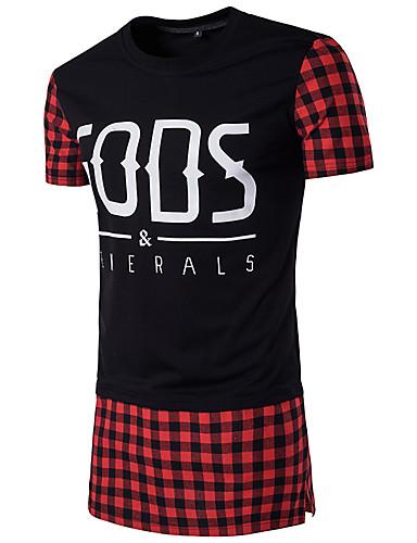 Homens Camiseta - Esportes Xadrez Quadriculada Algodão Decote Redondo