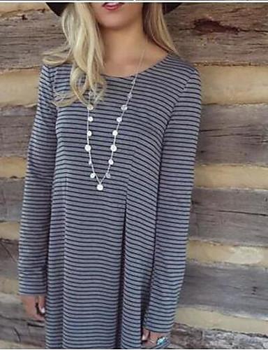 여성 줄무늬 라운드 넥 ¾ 소매 티셔츠,심플 캐쥬얼/데일리 면 봄