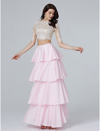9d689134a6b9 A-Line / Two Piece Illusion Neck Floor Length Lace / Taffeta Two Piece  Cocktail Party / Prom / Formal Evening Dress with Sequin / Appliques /  Tassel by TS ...
