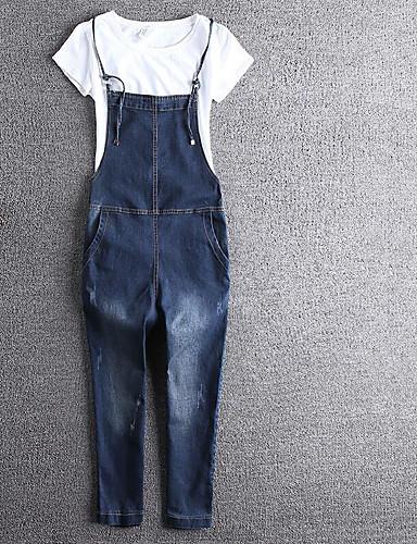 Dámské Roztomilé Jednoduchý Není elastické Džíny Montérky Kalhoty Štíhlý Mid Rise Čistá barva Jednobarevné