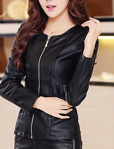 여성 솔리드 라운드 넥 긴 소매 모피 코트,단순한 캐쥬얼/데일리 짧은 그외 가을