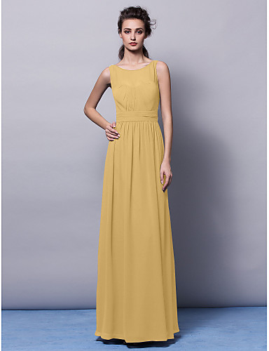 cheap Bridesmaid Dresses-Sheath / Column Jewel Neck Floor Length Chiffon Bridesmaid Dress with Draping / Sash / Ribbon / Ruched by LAN TING BRIDE® / Open Back